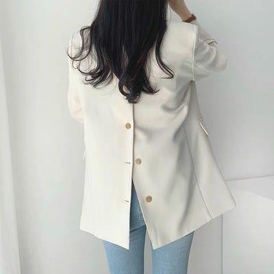 63328/2021春秋新款西装外套女韩版宽松百搭炸街小西服上衣女设计感小众