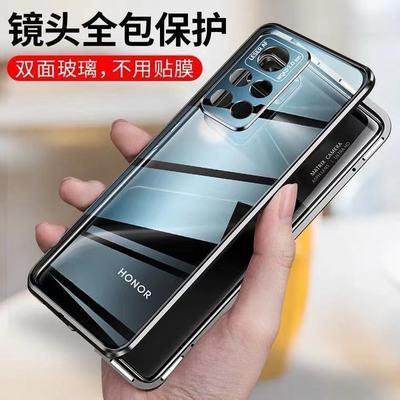 59995/荣耀v40手机壳华为v40轻奢版保护套防摔男女双面玻璃磁吸镜头全包