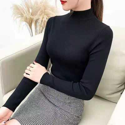 12045/半高领毛衣打底衫女长袖2021春秋新款时尚百搭修身紧身针织衫上衣
