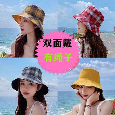 渔夫帽女春夏新款百搭日系韩版双面戴遮脸防紫外线帽子大沿防晒帽
