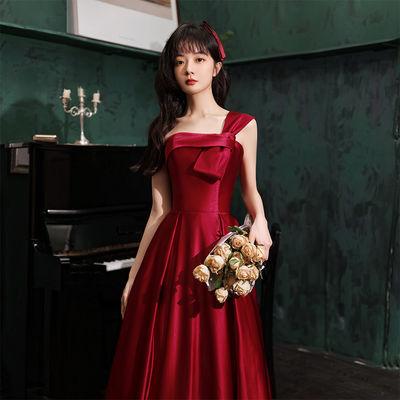 28341/敬酒服新娘2021新款酒红色夏季平时可穿订婚结婚回门晚礼服女长款