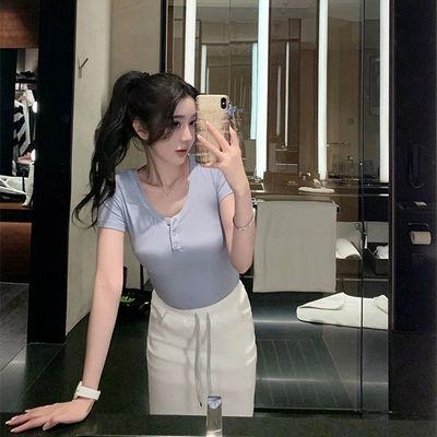 16009/韩雨嘉2021夏季新款短款修身白色短袖T恤女内搭打底衫ins潮网红