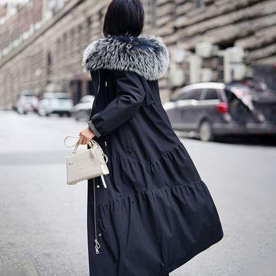 8232/反季秋冬派克服女长款貉子毛领可拆卸獭兔内胆海宁皮草外套大衣女
