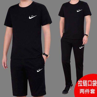 男士运动套装休闲跑步短袖长短裤三色可选吸汗速干单件/套装