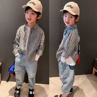 儿童格子衬衫2021新款韩版时尚童装宝宝格子外套