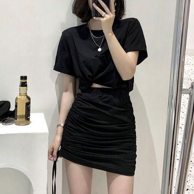37733/一裙两穿夏季套装女2021新款韩版纯色短袖短裙长裙休闲两件套女装