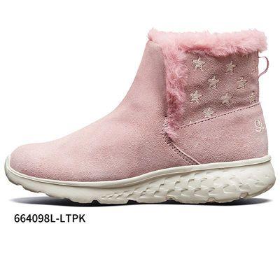 64661/Skechers斯凯奇女童冬季反毛皮雪地靴加绒保暖冬季靴子664098L