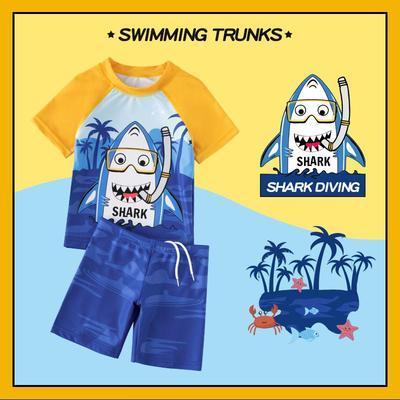 49829/2021新款儿童泳衣套装男童小中大童分体连体防晒速干游泳温泉泳装