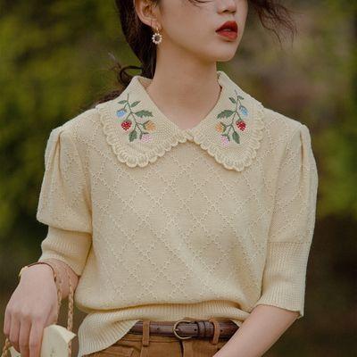 18819/【热卖】夏季爆款刺绣娃娃领针织衫薄款套头冰丝针织上衣复古减龄