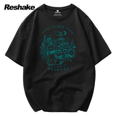 10006/Reshake短袖T恤男士2021新款宽松百搭纯棉圆领印花青年上衣YS130A
