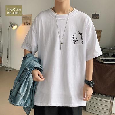 夏季短袖T恤男纯棉韩版宽松潮流国潮ins潮牌圆领撞色印花休闲上衣