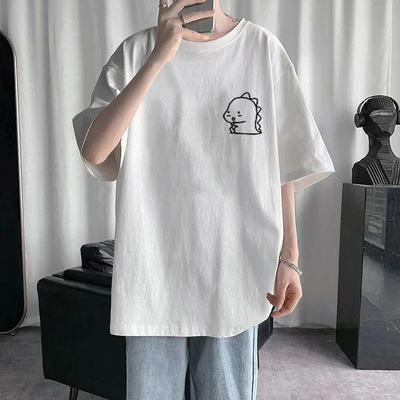 夏季2021新款短袖t恤男国潮上衣简约打底衫情侣纯棉白色男士体恤
