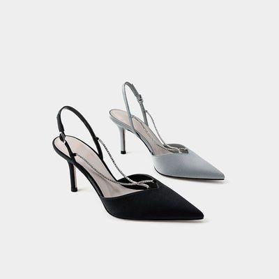 33476/小CK女鞋2021春季百搭新品潮流水钻链条优雅女士链条尖头高跟凉鞋