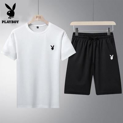 花花公子套装男夏季运动休闲跑步圆领速干短袖T恤短裤大码两件套