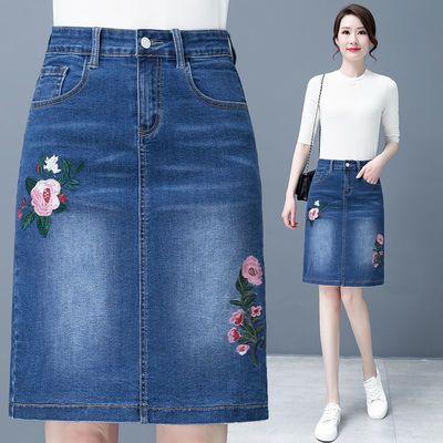 71990/2021夏季新品牛仔裙半身裙高腰显瘦弹力修身显瘦百搭一步包臀短裙