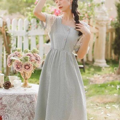 55962/2021年新款夏天高级感法式初恋温柔风甜美中长裙子