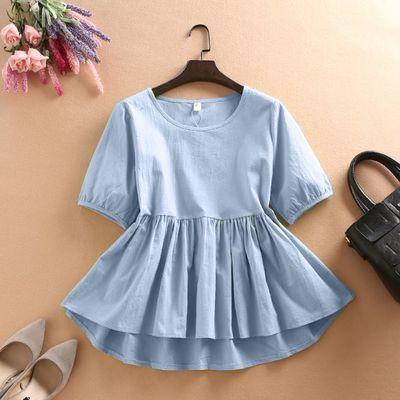 天天特价娃娃衫短款上衣女装夏季短袖宽松衬衣纯色棉麻女