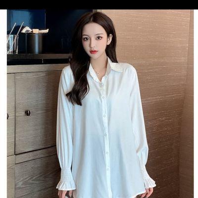 11778/女装2021新款潮白色雪纺衬衫上衣女春秋款气质女士衬衫新款长袖