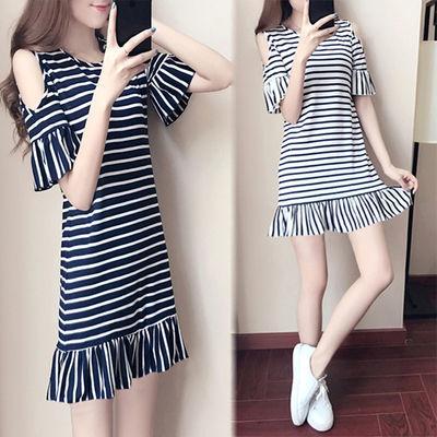 夏季新款2020韩版短袖荷叶边连衣裙宽松显瘦条纹学生女装