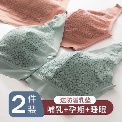 77578/孕妇哺乳内衣背心式春夏季薄款聚拢防下垂喂奶前开扣女浦乳文胸罩