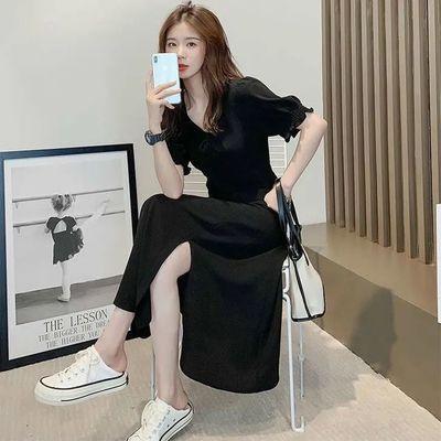 36242/小个子显瘦开叉连衣裙2021新款韩版收腰夏季中长款ins打底小黑裙