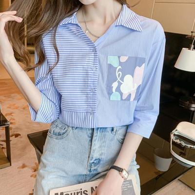 30130/蓝白色条纹衬衫女设计感小众简约印花衬衣女女装衬衫