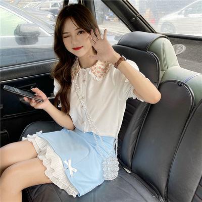 夏季2021新款甜美日系设计感娃娃领宽松洋气泡泡短袖衬衫女两件套