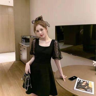60678/春夏新款赫本法式复古甜美可爱气质收腰显瘦气质波点小黑连衣裙18