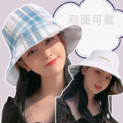 渔夫帽春夏天女格子JK双面太阳帽遮阳防晒日系可爱防紫外线显脸小