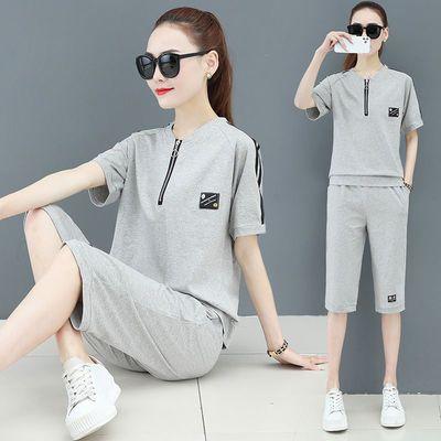 61735/【纯棉】休闲运动服套装女夏季宽松大码短袖宽松短裤七分裤两件套