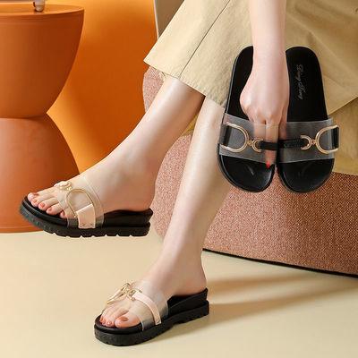 61697/厚底凉鞋女夏2021新款一字扣凉鞋平底学生韩版防滑室内外坡跟凉鞋