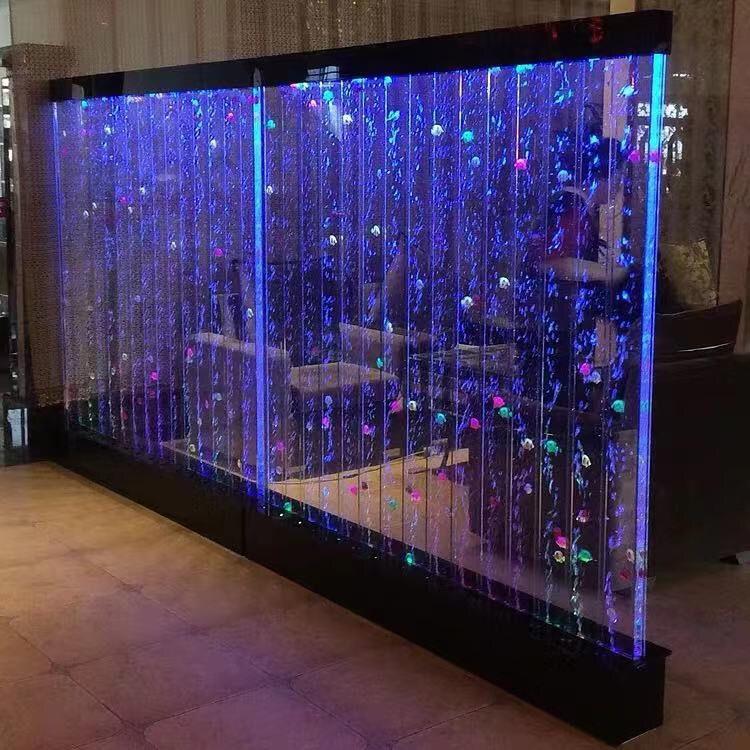 定做大型亚克力屏风 水幕墙 流水气泡墙 创意鱼缸水族箱玄关隔断