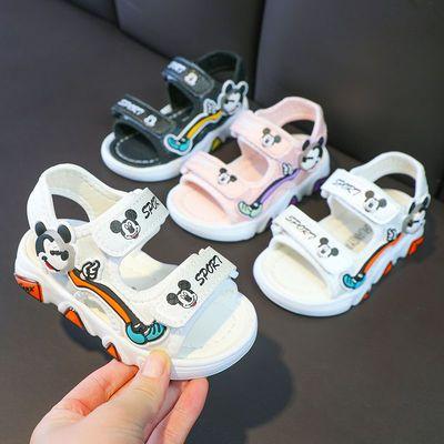 35657/儿童凉鞋2021夏季新款韩版男童休闲凉鞋女童亮灯鞋米奇网红沙滩鞋