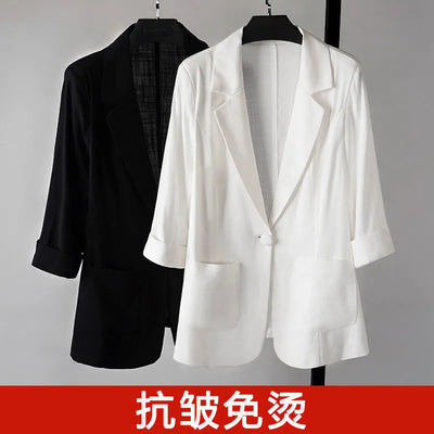 11643/短款夏季小西装外套女韩版修身显瘦大码七分袖薄款休闲防晒服上衣