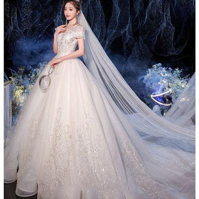 75344/一字肩星空主纱婚纱2021新款气质新娘轻高端拖尾仙感遮手臂
