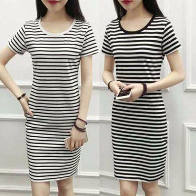外贸2021夏季黑白中长款条纹女装修身显瘦连衣裙上衣一件铺货