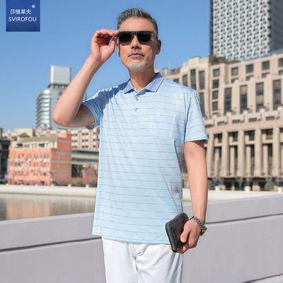 9428/爸爸短袖t恤中年人男士冰丝宽松中老年人纯棉40-50岁老爸爷爷夏装