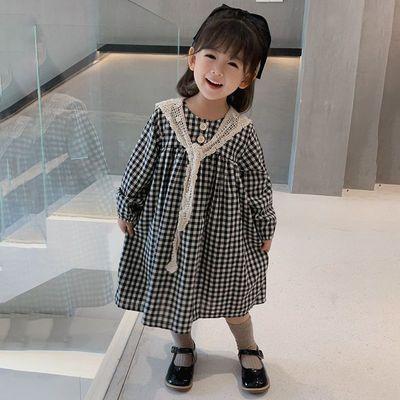 女童连衣裙2021新款中小童春装裙子纯棉女宝宝格子裙长袖韩版洋气