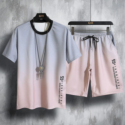 冰丝单件/套装男士短袖t恤夏季短裤青年休闲运动套装速干修身显瘦