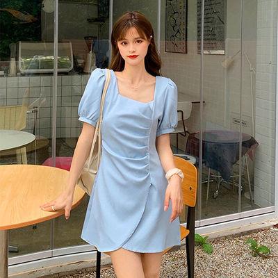 35172/法式短袖女泡泡袖方领褶皱不规则炸街裙子2021新款森系连衣裙小众