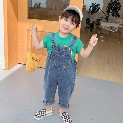 儿童背带裤春秋童装宝宝牛仔裤2021新款洋气小童长裤男童春装裤子