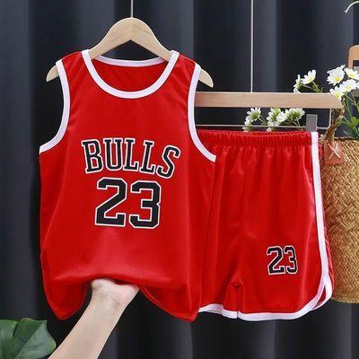 儿童运动休闲短袖套装新款夏季宝宝23篮球服夏季短裤透气吸汗潮衣