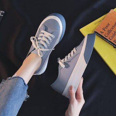 10308/帆布鞋女学生韩版2021春夏薄款百搭厚底街拍小众设计感ins板鞋潮