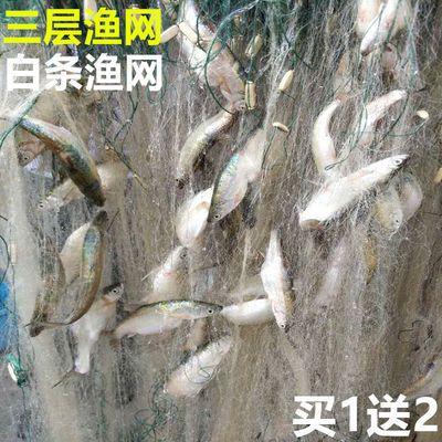 58929/小渔网粘网三层鱼网白条网马口网浮网沉网单层网50米100米长1指网