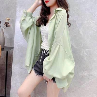 26165/2021夏季新款韩版女装慵懒风上衣宽松衬衫百搭显瘦薄款防晒衣外套