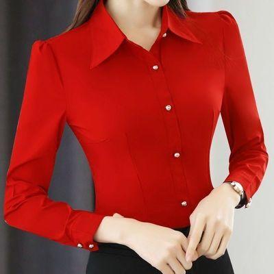 22552/2021春秋新款职业红色衬衫女长袖韩版显瘦衬衣修身打底白色百搭