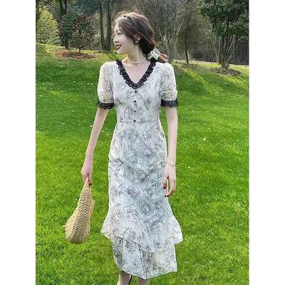 67857/玫瑰蕾丝裙子法式复古小众茶歇裙v领连衣裙女夏长裙