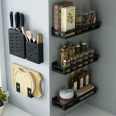 厨房置物架免打孔壁挂式家用调味料用品筷笼刀架挂架多功能收纳架
