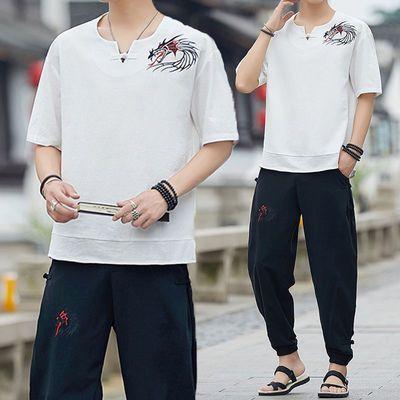 男士短袖T恤潮流宽松休闲套装中青年中国风夏装一套棉麻国潮半袖