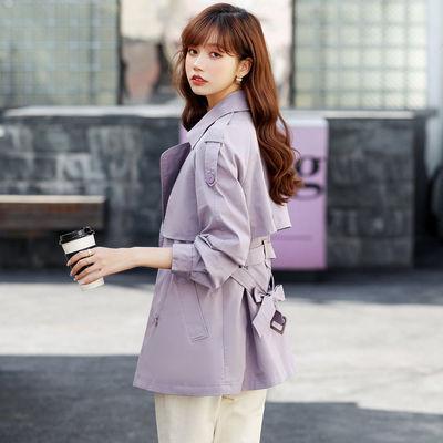 6642/米说短款洋气风衣女2021新款春秋时尚高档长袖百搭女士小个子外套